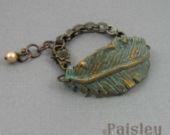 Brass Verdigris feather bracelet, polymer clay feather on antiqued brass chain with lobster clasp