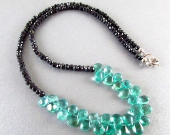 25OFF Apatite and Spinel Gemstone Necklace, Aqua Necklace, Black and Blue Necklace