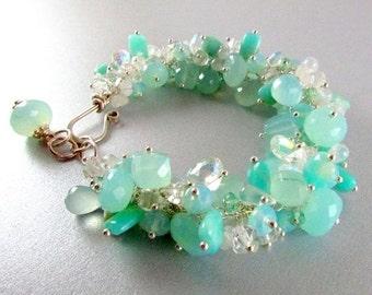 25% Off Aqua Blue Cluster Gemstone Sterling Silver Adjustable Bracelet