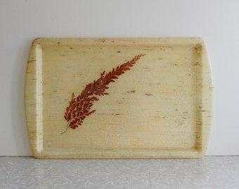 fern tray, vintage botanical tray, gold-flecked fiberglass, autumn decor, fall decoration, 1960s vintage serving tray, fern leaf design, bar