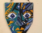 For Jill - Fused glass mask beaded wire plaque