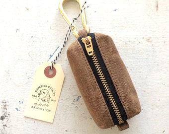 Dog waste bag dispenser with solid brass carabiner - waxed canvas - nutmeg