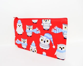 Owl Small Pouch, Small Card Case, Fabric Pouch, Zipper Pouch, Coin Purse, Change Purse, Pouch, Owl Pouch, Cute Fabric Pouch, Red Pouch