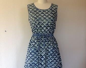 Judith Cotton sun dress- blue batik- Medium