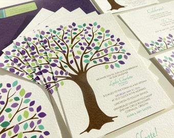 Tree of Life Bat Mitzvah Invitation, Purple Blue Green Brown, Oak Tree Bat Mitzvah Invite, Bar Mitzvah Invitation, Orange, Red Fall Mitzvah