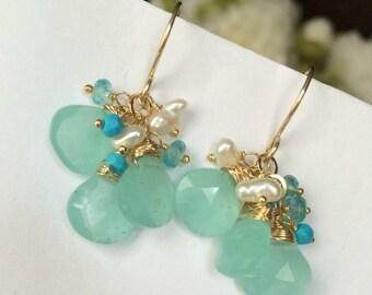 HALLOWEEN SALE Aqua Dangle Earrings Wire Wrapped 14kt Gold Fill Aqua Chalcedony Turquoise Earrings Summer Fashion Mint Earrings
