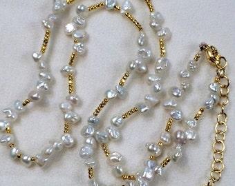 PRESIDENTS DAY SALE Dainty Keishi Pearl Layering Necklace, Minimalist Tiny Pearl Choker, Delicate Ivory Keishi Pearl Necklace, Gold Fill Bea
