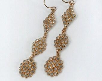 Rose Gold Long Dangle Earring White Topaz Earrings Boho Dangle Earrings Bohemian Luxe Diamond Look Dainty Long Earrings Gift for Her