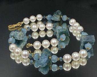 Sale 25% Blue Aquamarine Choker Raw Aquamarine Gemstone Pearl Necklace Nugget Chunky Statement Necklace March Birthstone