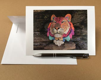 Tiger Card, FREE SHIPPING in USA! 5 x 7 Cards of Beaded Animal Masks, Greeting Cards Blank Inside, Art Cards of Nature, Robert F Allen