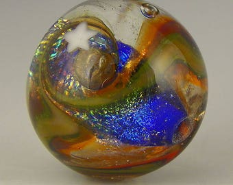 handmade lampwork glass bead a round galaxy focal done in dichro murrini and goldstone  - Ringed Nebula