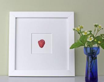 Kitchen art-Raspberry Illustration-botanical watercolour-framed berry print-art for dining room-Christening gift-gift for chef-wedding gift