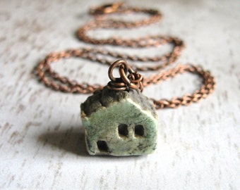 La Petite Chalet - Wee Ceramic House and Antiqued Copper Chain Handmade Necklace with Gift Box