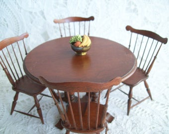 Miniature, 5 Piece set, one inch scale, hand made, Round Table and Four Chairs by Jon Hinrichson
