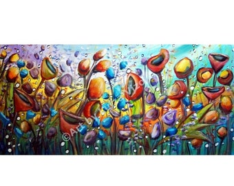 Large Abstract Boho Flowers Painting Poppy Whimsical Garden Art by Luiza Vizoli 42x