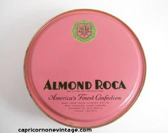 Vintage Almond Roca Tin 1940s Candy Tin Vintage Pink Metal Storage Container Brown & Haley Tacoma Washington Movie Prop Retro Room Decor