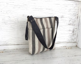 Black & Beige Striped Linen Shoulder Bag, Large Purse, Diaper Bag
