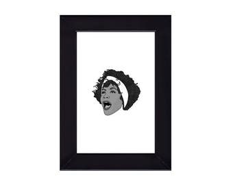 4 x 6 Framed Whitney Houston Portrait