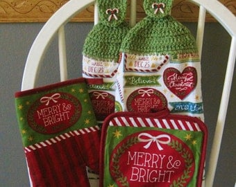 2 Crocheted Christmas Hanging Kitchen Towels with Pot Hot Holder and Oven Mitt - Seasons Greetings