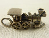 Vintage Beau Sterling Train Charm with Movable Wheels