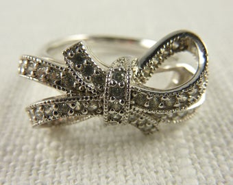 Vintage Sterling CZ Bow Ring Size 7.25