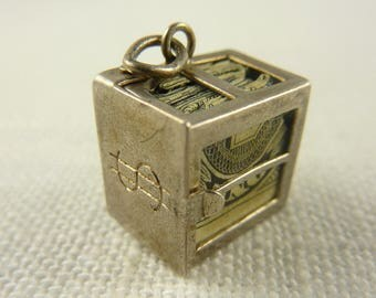 Vintage Sterling Mad Money Box Charm with Opening Door