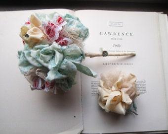 Vintage Fabric Flowers * Weddings * Gifts and Keepsakes * Unique Handmade OOAK Bouquets * Unique Weddings *  Celebration Bouquet