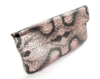 Leather Clutch Bag / Purse / Handbag / Evening bag - Rose Gold Oyster