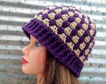 Granny Stripe Hat Crochet Plum Purple and Tan Beanie