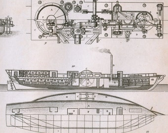 Antique Print on Steamship Construction - Plate 18 - 1852 Engraving