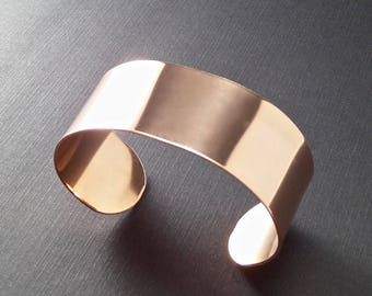 5 Cuffs - 1 x 6 Inch Copper or Jeweler's Brass 18 Gauge Tumble Polished or RAW Bracelet Blank Cuffs - 5 Cuffs - Flat