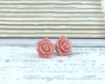 Pink Rose Earrings Pink Flower Studs Rose Stud Earrings Pink Flower Earrings Hypoallergenic