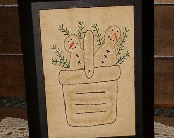 Snowmen in a Basket Primitive Stitchery