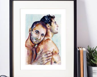 """The Warm Comfort of a Hug Between Two Shirtless men in Love - Love is Love - 8x10"""" Signed Art Print"""
