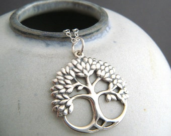 """sterling silver rustic tree of life necklace. leafy nature jewelry boho bohemian pendant antiqued oxidized simple everyday charm gift 7/8"""""""