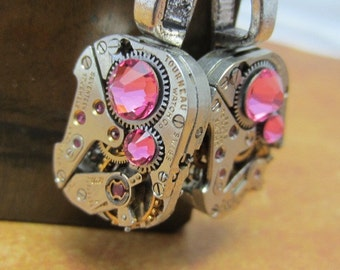 Steampunk ear gear - Rose - Steampunk Earrings - Repurposed art