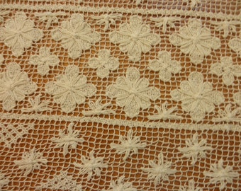 """Vintage crochet doily off white 28"""" by 14"""""""