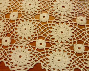 """Vintage crochet doily off white 26"""" by 12 1/2"""""""