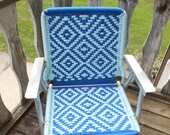 Vintage Mid century Folding Lawn Chair with Macrame Aluminum Frame Retro Royal and White