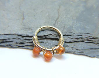 """Nose Ring - Seamless Hoop CARNELIAN Nose or Ear Jewelry - 18G 16G 14G 5/16"""" 3/8"""" - Sterling Silver 14K Rose or Yellow Gold Fill Septum Ring"""