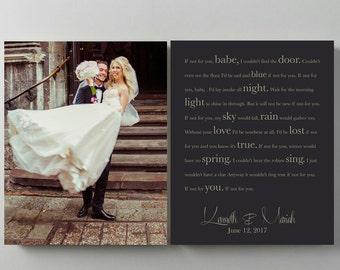 Song lyrics wall art anniversary print 1st anniversary gift wedding vows wedding song lyrics canvas custom photo canvas bride and groom gift