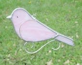 Pink Stained Glass Bird Home Decor Suncatcher