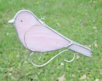 Pink Stained Glass Bird Home Decor Suncatcher