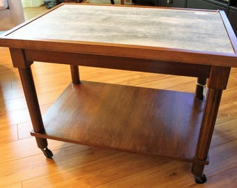 Vintage Cocktail Table with Faux Barnwood Top