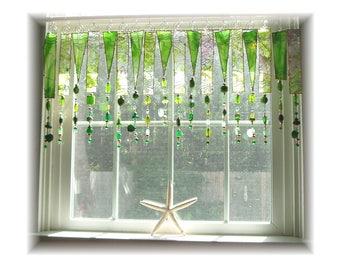 Fine Spring Day  Green  Stained Glass Window Treatment Kitchen Valance Curtain