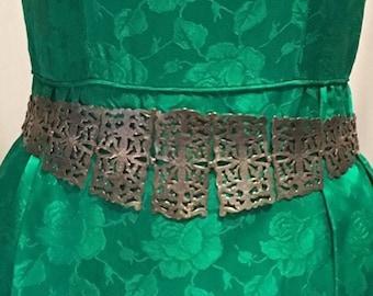 "Rare Antique Victorian Nurses Belt Pierced Silver Panels English 27"" Buckle Sash"
