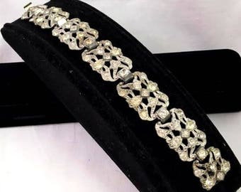 Antique 1920s 1930s French Art Deco Paste Faux Diamond Pot Metal Filigree Bracelet Estate Find