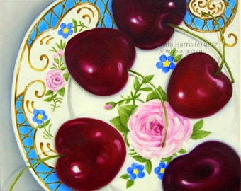 Bright Cherries on Vintage Floral Plate . . . . .16x20 Original LARGE Painting in OIL by LARA Still Life