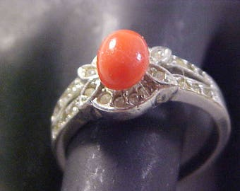 Oval Simulated Coral Stone~Diamante ~ Silver Plate Ring ~ Size 9 1/4