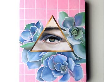 Lover's Eye w succulents Oil Painting on wood plaque Lowbrow Pop Art